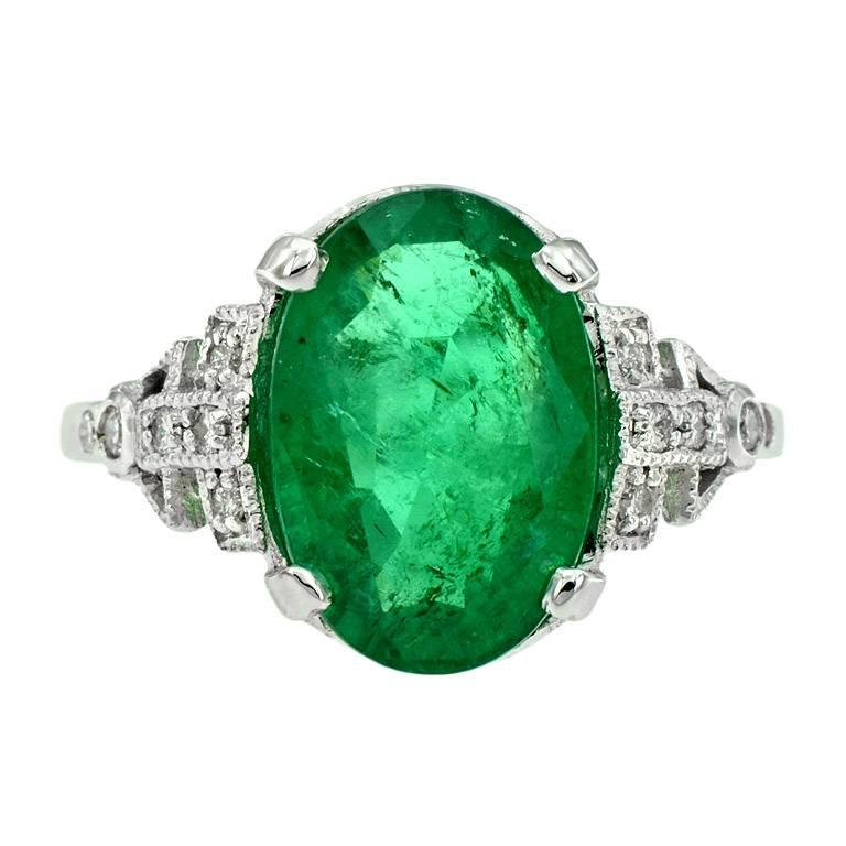 Zambian Emerald 3 83 Carat With Diamond Cocktail Ring At