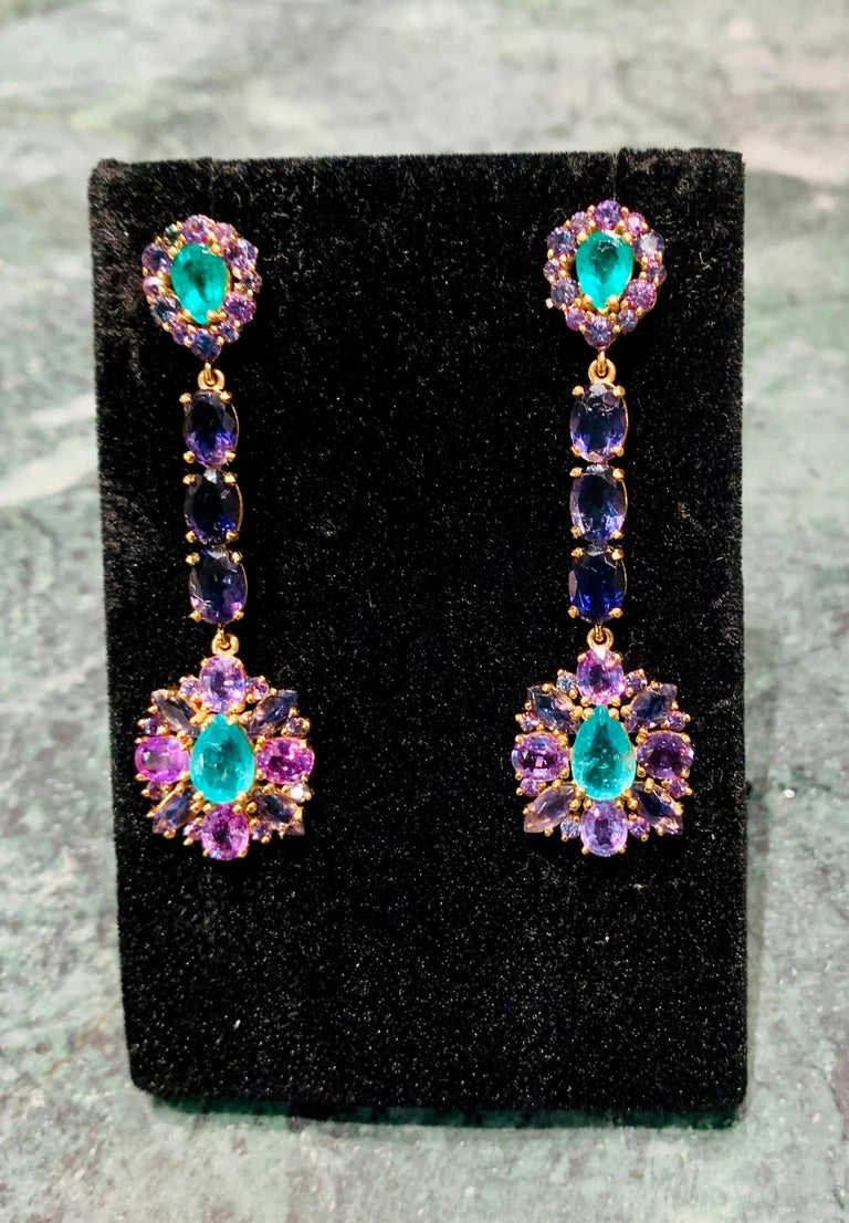 Zambian Emerald and Alexandrite Earrings For Sale 5