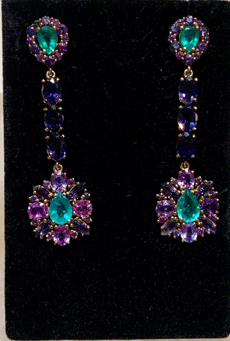 Zambian Emerald and Alexandrite Earrings In New Condition For Sale In New York, NY