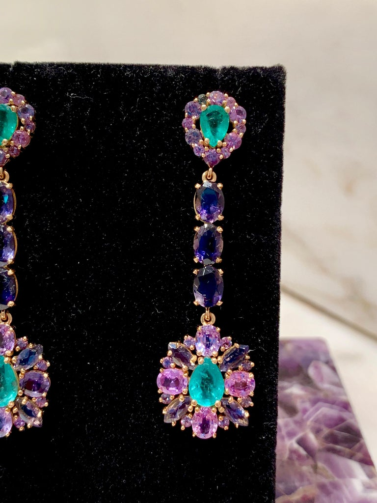 Women's or Men's Zambian Emerald and Alexandrite Earrings For Sale