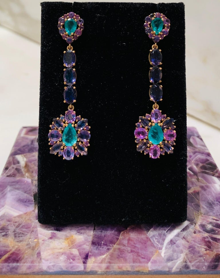Zambian Emerald and Alexandrite Earrings For Sale 2