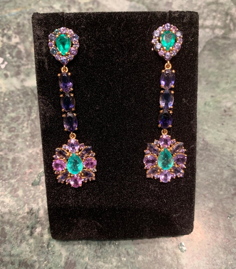 Zambian Emerald and Alexandrite Earrings For Sale 4