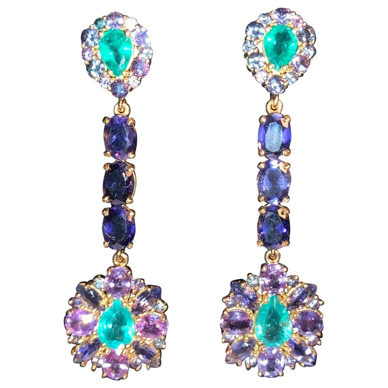 Zambian Emerald and Alexandrite Earrings For Sale