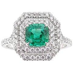 Zambian Emerald and Diamond Ring, 1.60 Carat