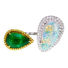 Zambian Emerald and Ethiopian Opal Twin Ring