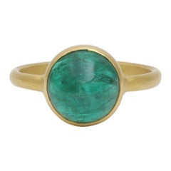 Zambian Emerald Cabochon Handcrafted Ring in 18 Karat Yellow Gold