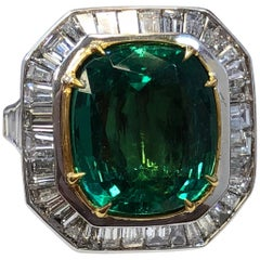 Zambian Emerald Cushion and Diamond Baguette Cocktail Ring with GIA Certified