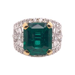 Zambian Emerald Diamond Cocktail Band Ring