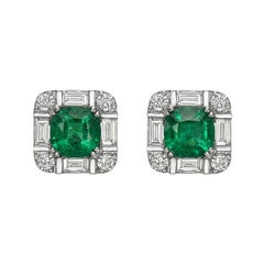 Zambian Emerald Diamond Earrings 18 Karat White Gold
