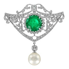 Zambian Emerald Diamond Pearl Pendant Brooch