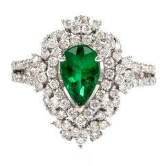 Zambian Emerald GIA Diamond Cluster Gold Ring
