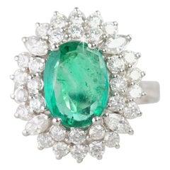 Zambian Emerald with Diamond Ring