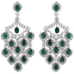 Zambian Oval Cut Emerald 12.09 Carat Chandelier Platinum Earrings