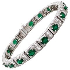 Zambian Oval Cut Emeralds 6.38 Carat Diamond Platinum Bracelet