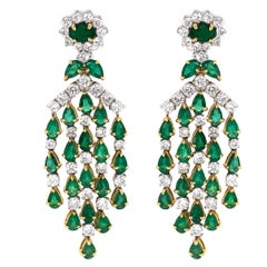 Zambian Pear Cut Emerald 10.36 Carat Diamond 18 Karat Gold Chandelier Earrings