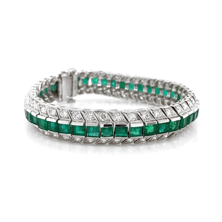 Zambian Square Cut Emeralds 14.28 Carat Diamond Platinum Link Bracelet In New Condition For Sale In New York, NY