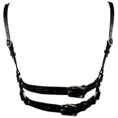 "ZANA BAYNE Size S Black Leather Studded ""NOT MY PRESIDENT"" Harness"