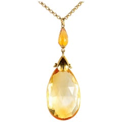 Zancan 18 Karat Yellow Gold Citrine Pendant Necklace