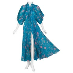 Zandra Rhodes Blue Pink Pleated Shell Print Caftan Dress 1970S