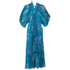 Zandra Rhodes Blue Pink Pleated Shell Print Caftan Dress 1970S