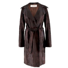 Zandra Rhodes Dark Brown Lambs Fur Coat US 04