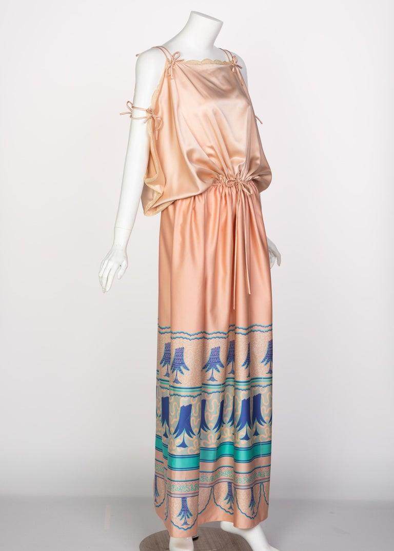 Beige Zandra Rhodes Field of Lilies Maxi Caftan Dress, 1970s For Sale