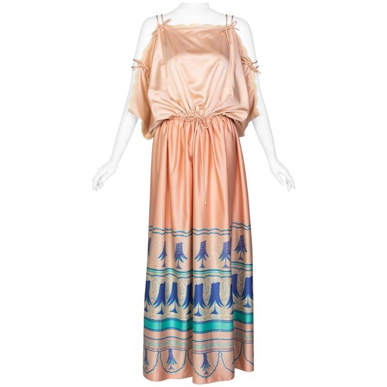 Zandra Rhodes Field of Lilies Maxi Caftan Dress, 1970s For Sale