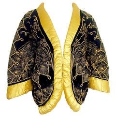 Zandra Rhodes Gold Work Metal Embroidered Velvet Padded Jacket