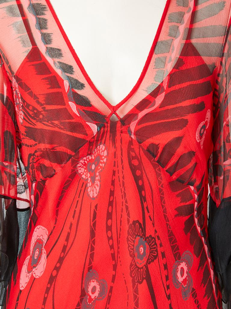 Zandra Rhodes Iconic Print Midi Dress with Tulle. In Good Condition For Sale In New York, NY