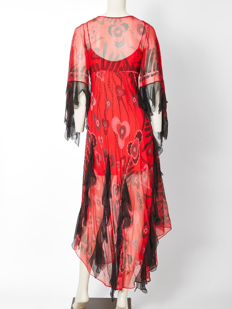 Women's Zandra Rhodes Iconic Print Midi Dress with Tulle. For Sale