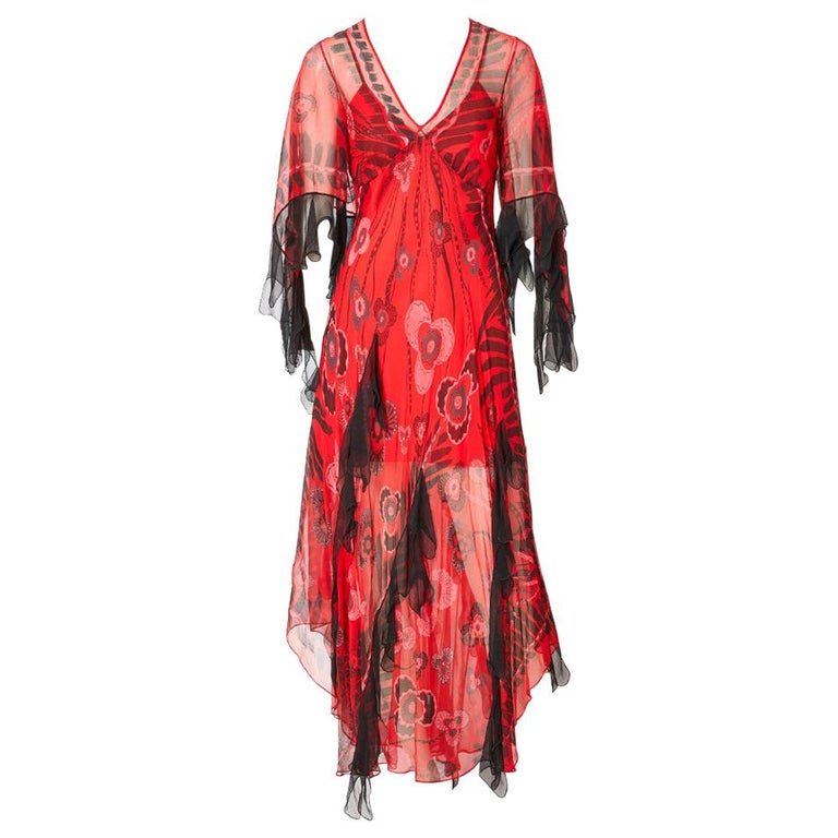 Zandra Rhodes Iconic Print Midi Dress with Tulle. For Sale