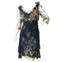 Zandra Rhodes London for Saks Fifth Avenue 80's Gold Lace Ruffled Dress