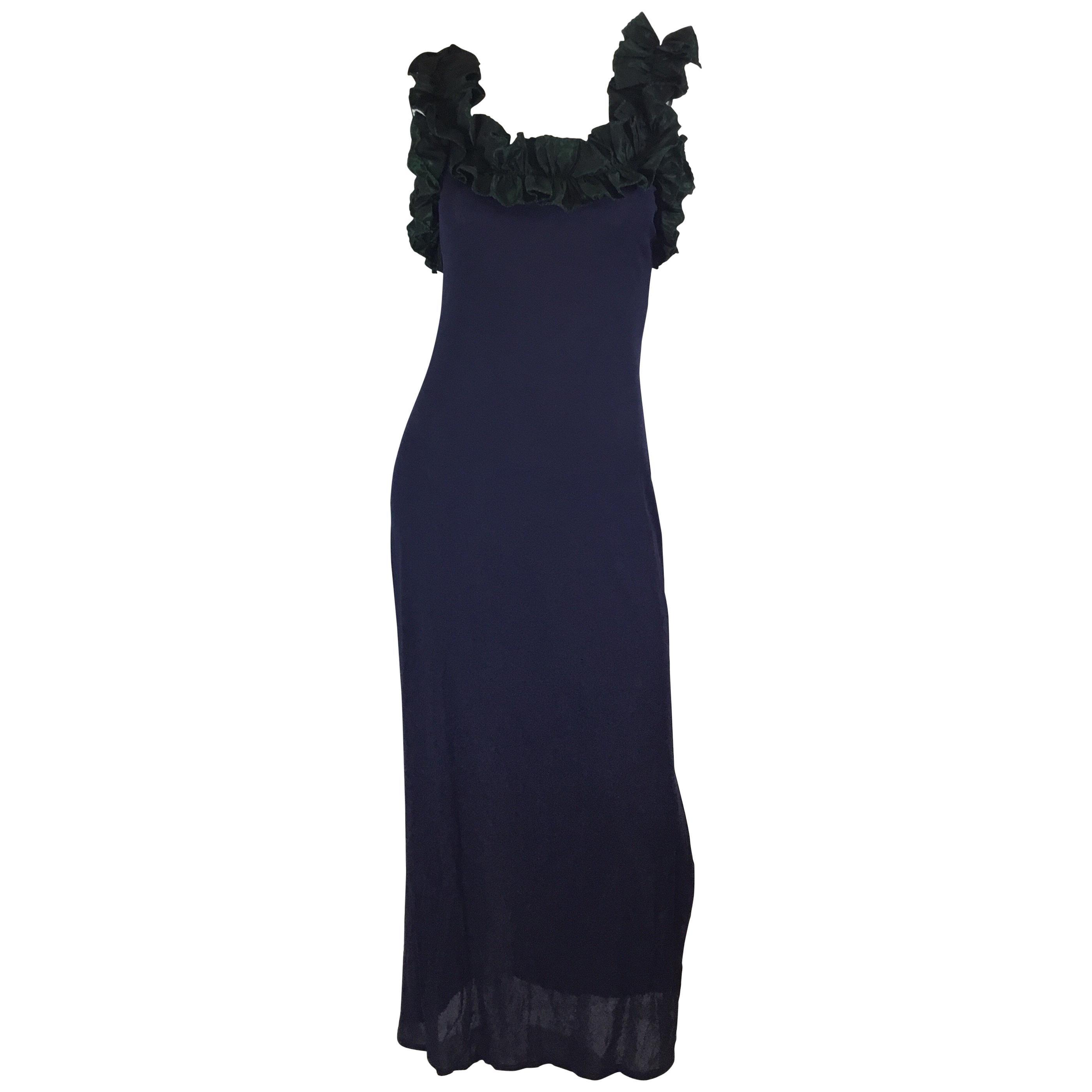 Zandra Rhodes Maxi Jersey Dress Ruffle Taffeta Collar