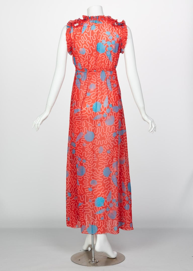 Zandra Rhodes Red Pleated Shell print Caftan and Sleeveless Dress Set, 1970s For Sale 6