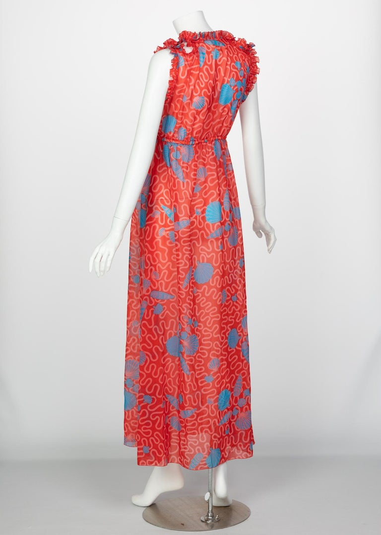 Zandra Rhodes Red Pleated Shell print Caftan and Sleeveless Dress Set, 1970s For Sale 5