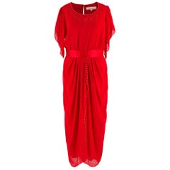 Zandra Rhodes Red Silk Hand Painted Long Dress US8