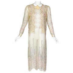 Zandra Rhodes Unlabelled Hand Painted Sheer Silk Pearl Edged Dress, 1980s