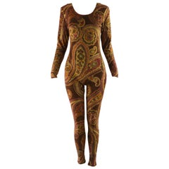 Zandra Rhodes Vintage Brown & Gold Paisley Hand Printed Velour Catsuit