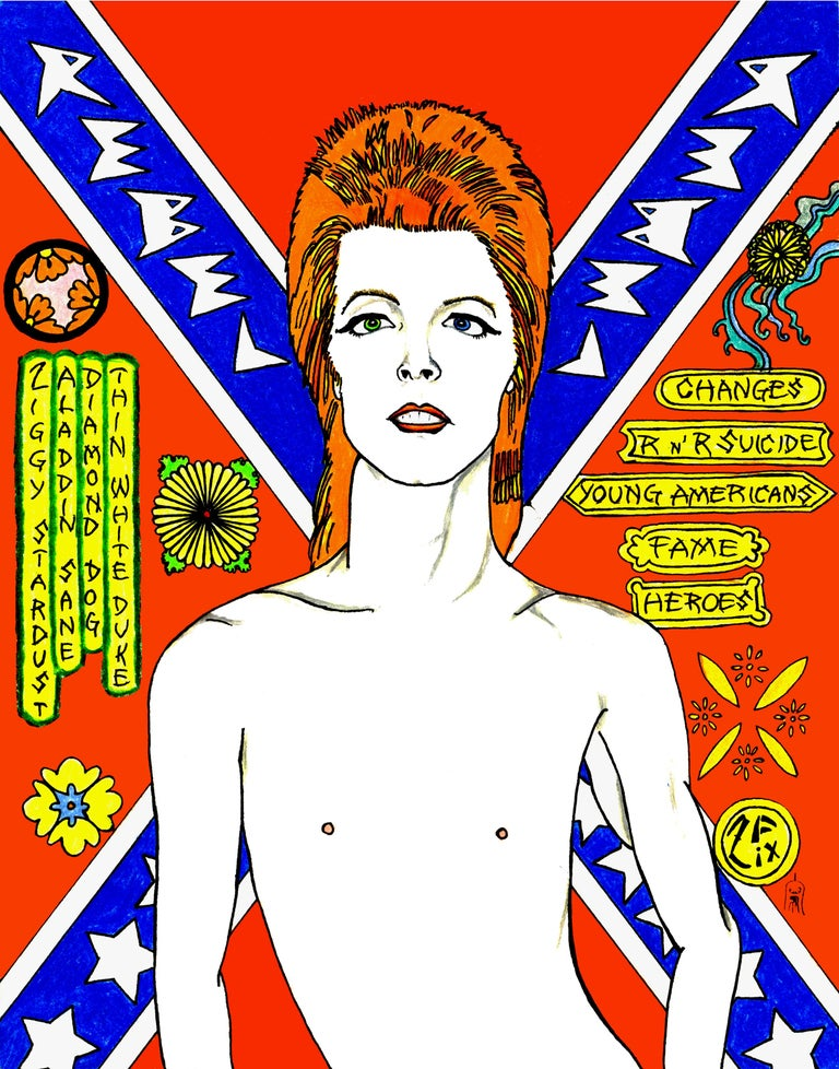 David Bowie Rebel Rebel in Blue - Print by Zane Fix