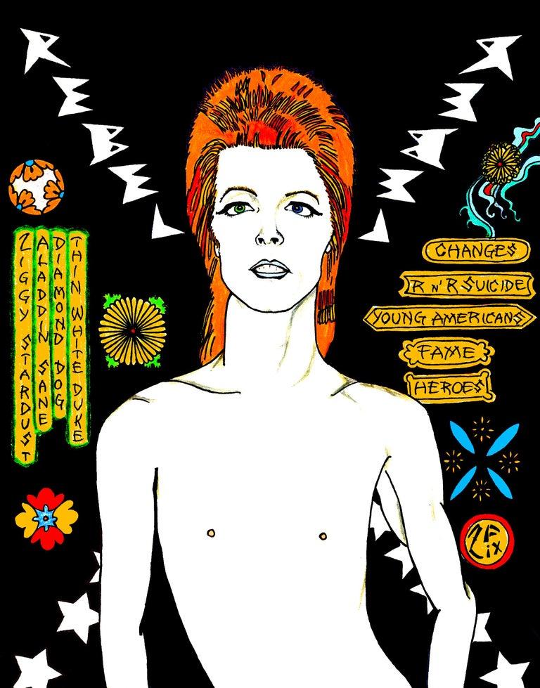 David Bowie Rebel Rebel in Blue - Pop Art Print by Zane Fix