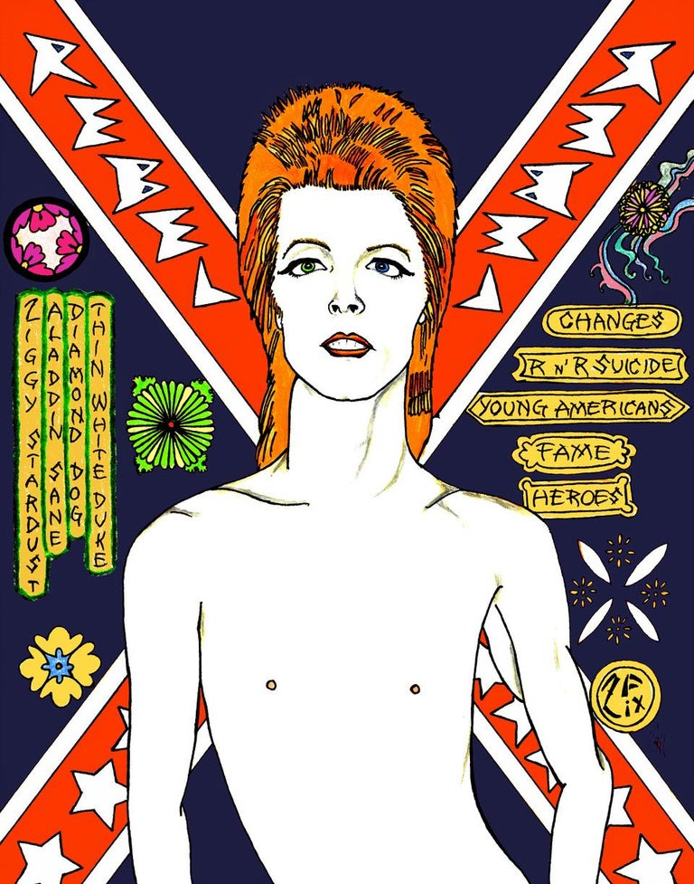 Daivid Bowie Original pop art by contemporary artist Zane Fix addressing modern subjects that are executed in the traditional Japanese woodblock (Ukiyo-e) style.  About the Artist: World-renowned guru of Jap Pop Art - Zane Fix, is an American