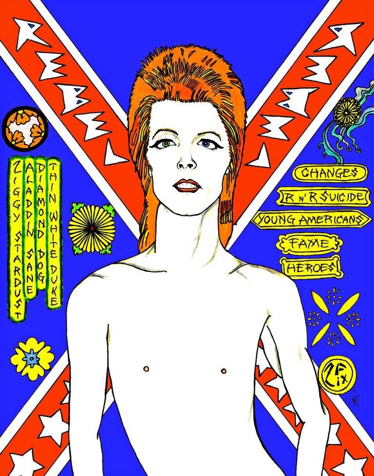 Zane Fix Figurative Print - David Bowie Rebel Rebel in Blue