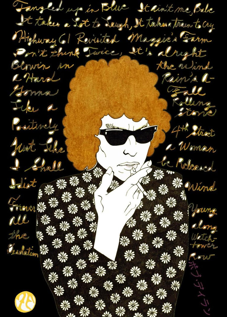 Bob Dylan  Hand worked, Unframed Editioned series Original pop art by contemporary artist Zane Fix addressing modern subjects that are executed in the traditional Japanese woodblock (Ukiyo-e) style.  World-renowned guru of Jap Pop Art - Zane Fix, is