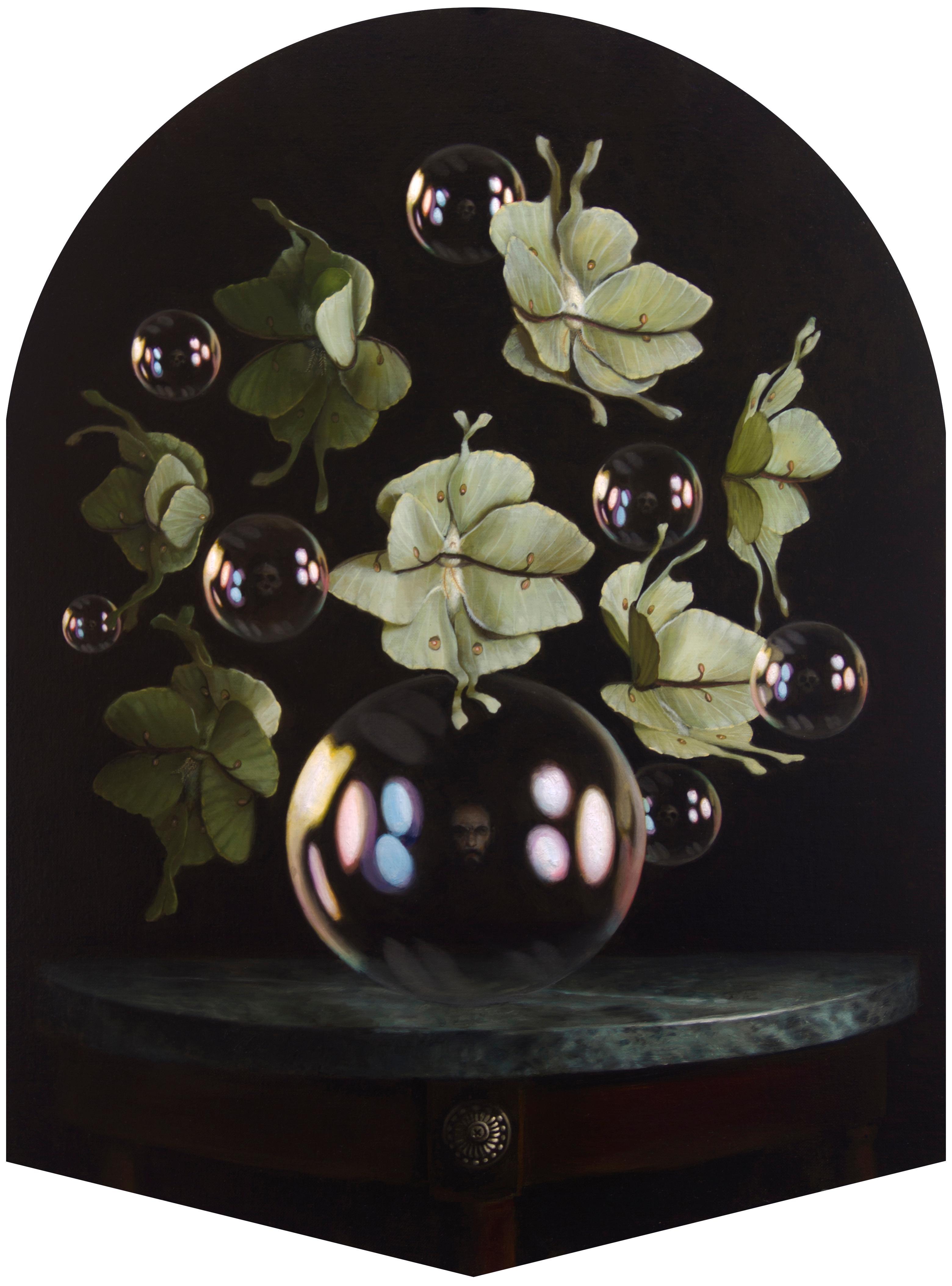 Arrangement VI, Contemporary Still Life, Flowers, Bubbles, Reflection