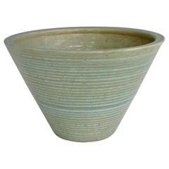 Zanesville Pottery Homespun Planter Pot Aqua with Green Ribs