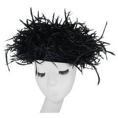 Zani Original Black Feather Hat, 1950's