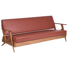 Zanine Caldas Midcentury Brazilian Sofa with Ivory Wood, 1958