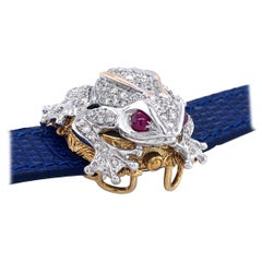 Zannetti Rana Scrigno Jewel Frog Watch Bracelet Collection, Diamonds and Ruby's