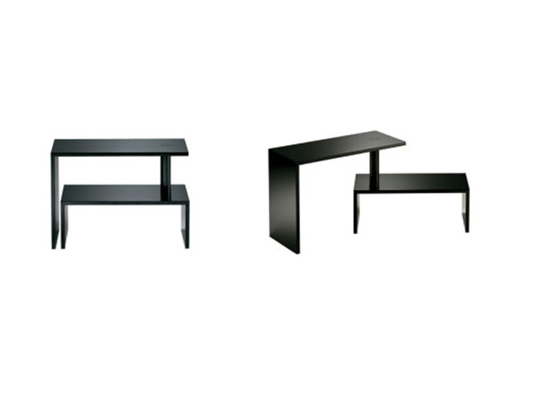 Italian Zanotta Black Basello Small Table by Achille Castiglioni For Sale
