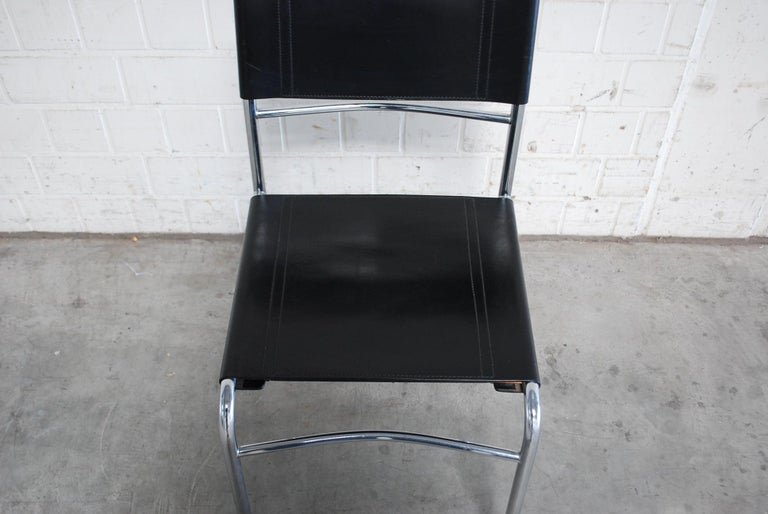 Zanotta Black Saddle Leather Dining Chairs, 4 For Sale 4